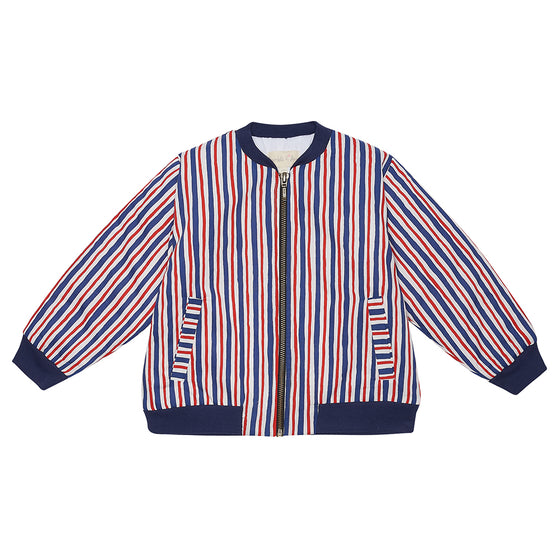 Red/Blue Striped Bay Bomber Jacket