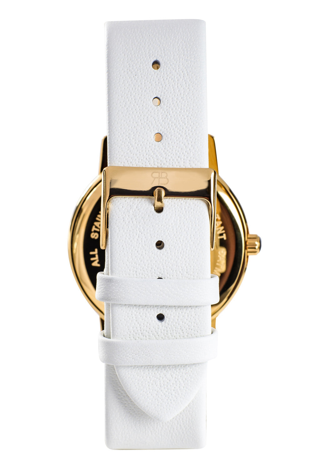 Gold Rossbanna Cornice watch with white strap, minimal, elegant, timeless, unique timepiece 05