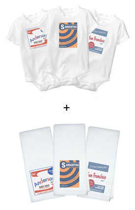 Personalized Baby Onesies + Burp Cloths Deluxe Set - Retro Soap Box Design