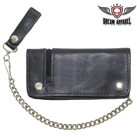 Black Leather Chain Wallet with Zipper - Stofma  Hub