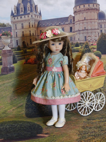 Antique Rose - dress, hat, tights & shoes for Little Darling Doll