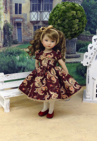 Autumn Paisley - dress, tights & shoes for Little Darling Doll or other 33cm BJD