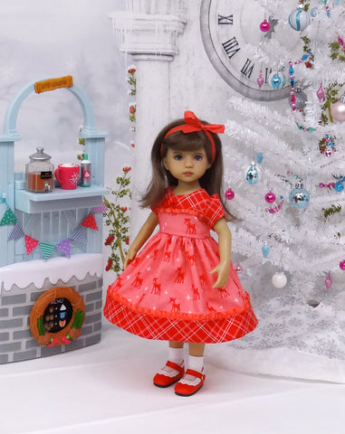 Christmas Deer - dress, socks & shoes for Little Darling Doll or 33cm BJD