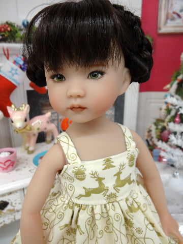 Elegant Golden Deer - dress & shoes for Little Darling Doll or 33cm BJD