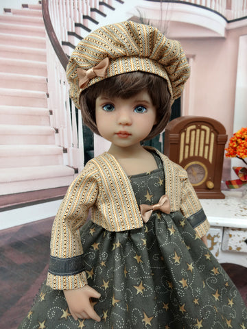 Falling Stars - dress, jacket, beret, tights & shoes for Little Darling Doll or 33cm BJD