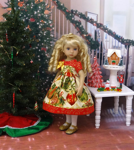 Glittering Ornaments - dress, tights & shoes for Little Darling Doll or 33cm BJD