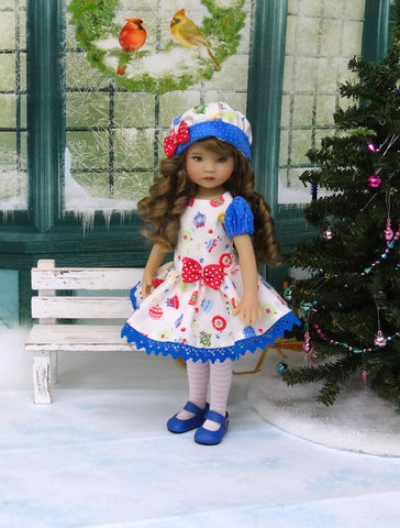 Holiday Ornaments - dress, hat, tights & shoes for Little Darling Doll or 33cm BJD