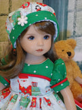 Santa is Coming to Town - dress, hat, tights & shoes for Little Darling Doll or 33cm BJD