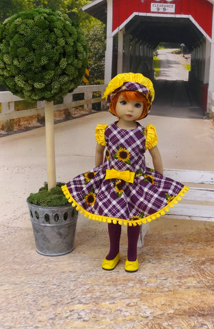 Sunflower Plaid - dress, hat, tights & shoes for Little Darling Doll or 33cm BJD