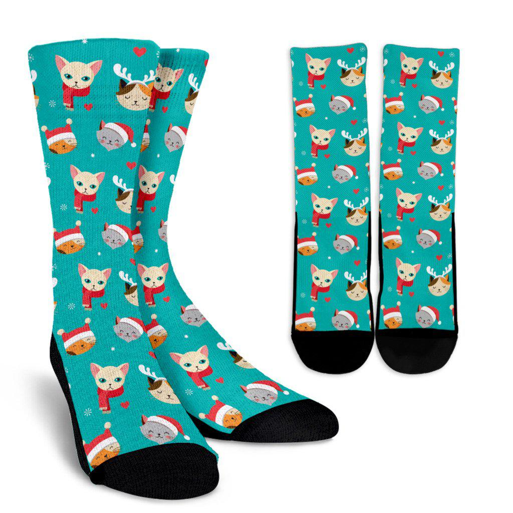 Christmas Cat Sublimated Crew Socks