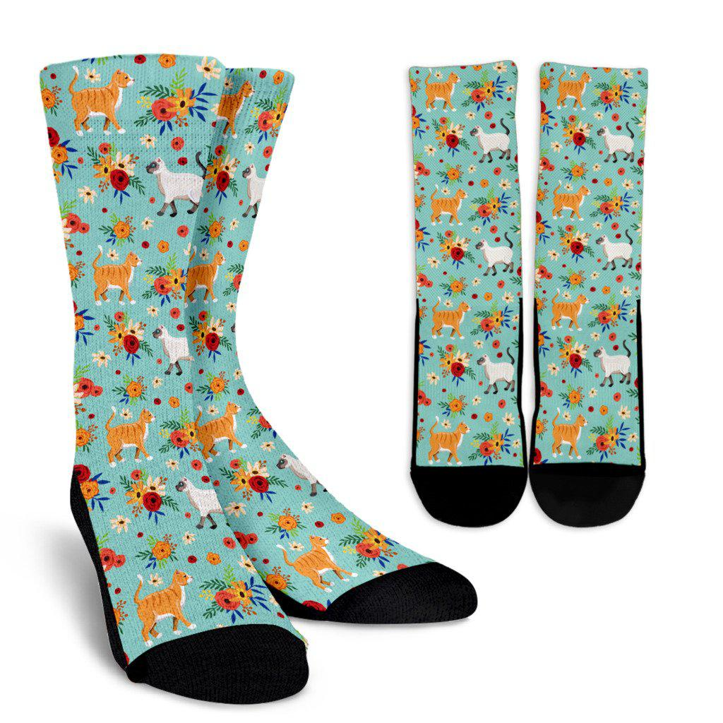 Cats In the Garden Sublimated Crew Socks