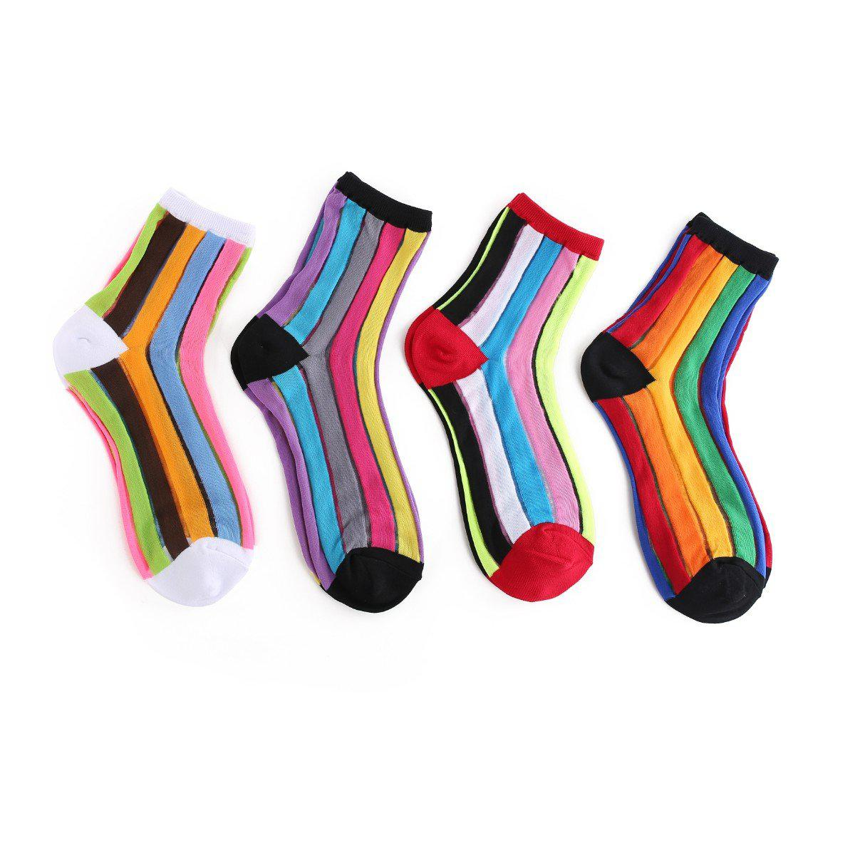 Rainbow Stripe Women's Sheer Socks