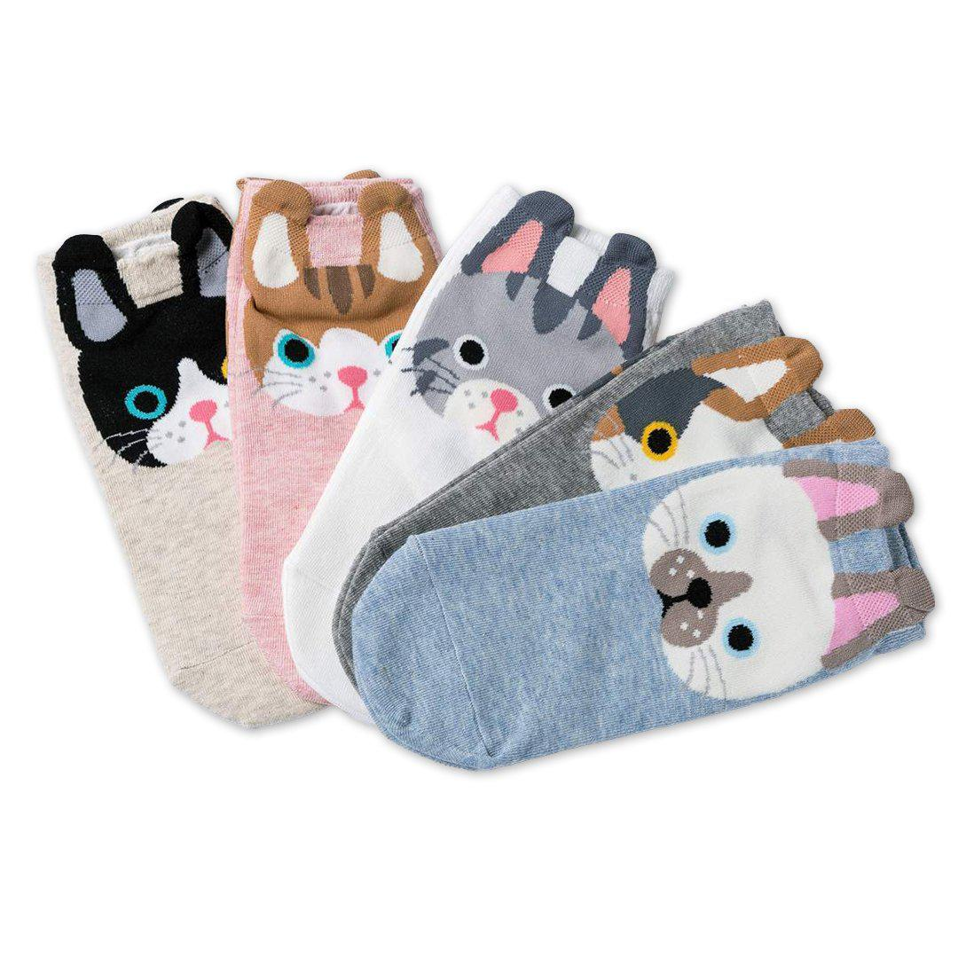Cartoon Cat Women's Low Cut Socks
