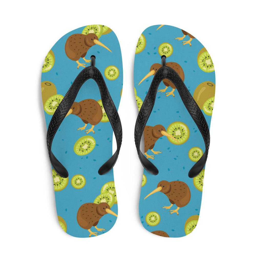Kiwi Bird and Fruit Sublimation Flip-Flops
