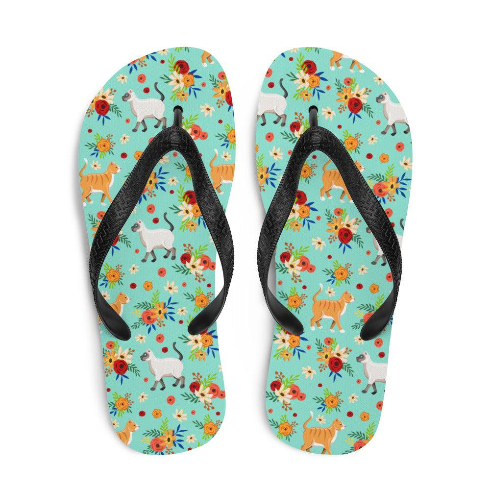 Cats in the Garden Sublimation Flip-Flops