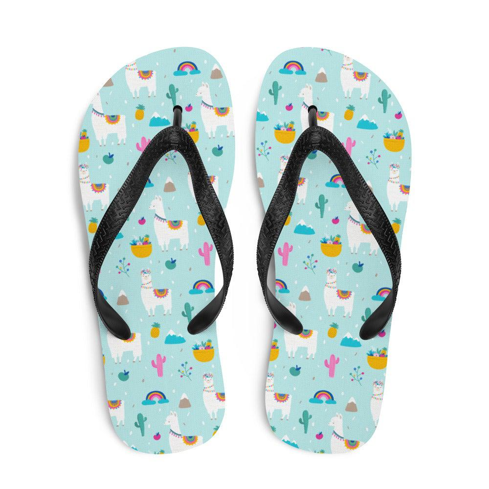 Alpaca and Cactus Sublimation Flip-Flops