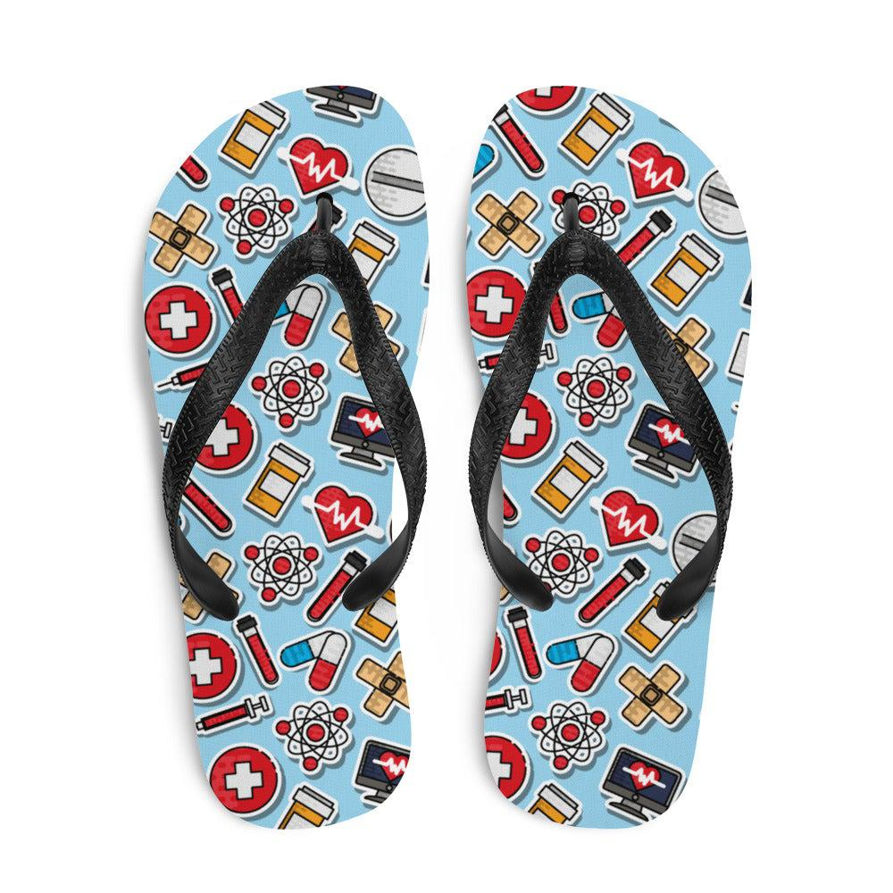 Medical Doctor Nursing Pattern Sublimation Flip-Flops