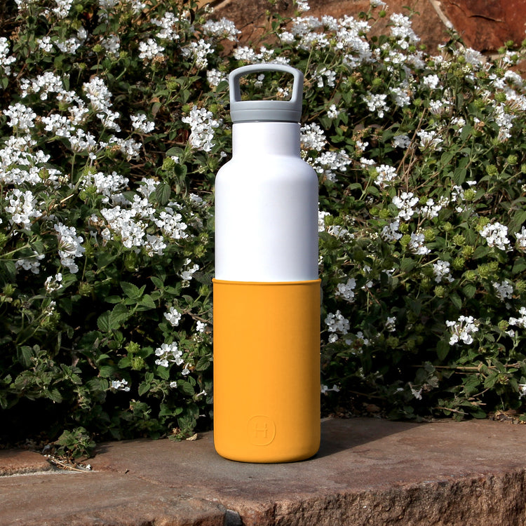 White-Pumpkin Orange 20 Oz, HYDY - Water bottles, 18/8 (304) Stainless Steel, BPA Free, Reusable