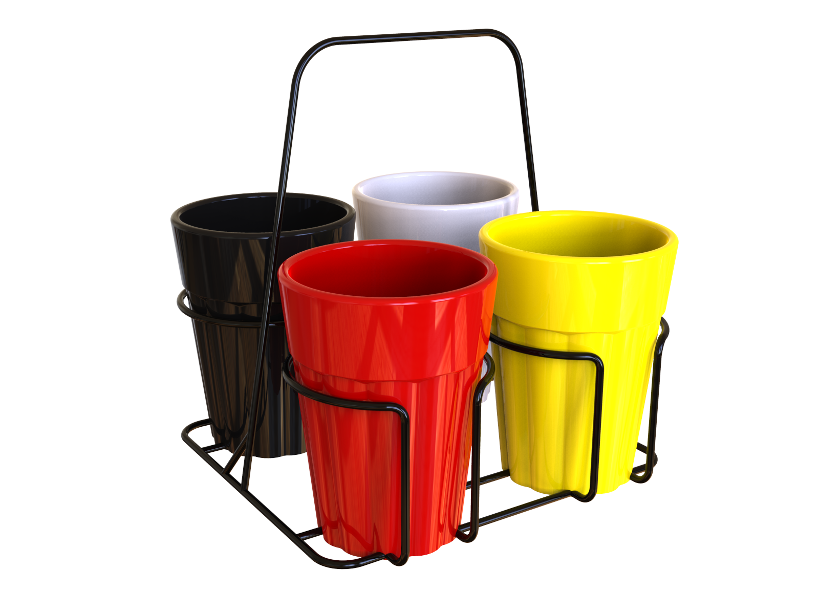 Unbreakable Cutting Chai Cups with Black Caddy (150ml, Solid Multicolor) - Set of 4