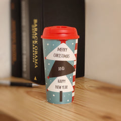 Designer Cup by Chirpy Cups with coffee & sipper lids, Food Safe, BPA Free, Recyclable - Merry Xmas!