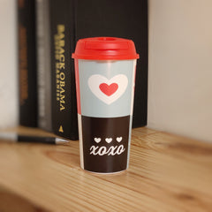 Designer Cup by Chirpy Cups with coffee & sipper lids, Food Safe, BPA Free, Recyclable - Love & xoxo