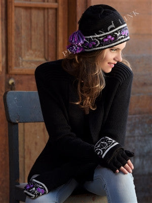 Black Hat with Purple Flower Accents & Tassel