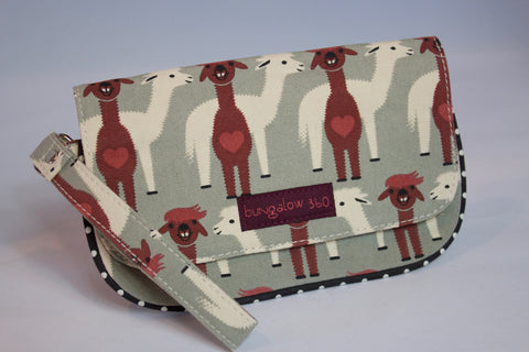Bungalow360 Women's Vegan Canvas Wristlet Wallet w/ Alpacas