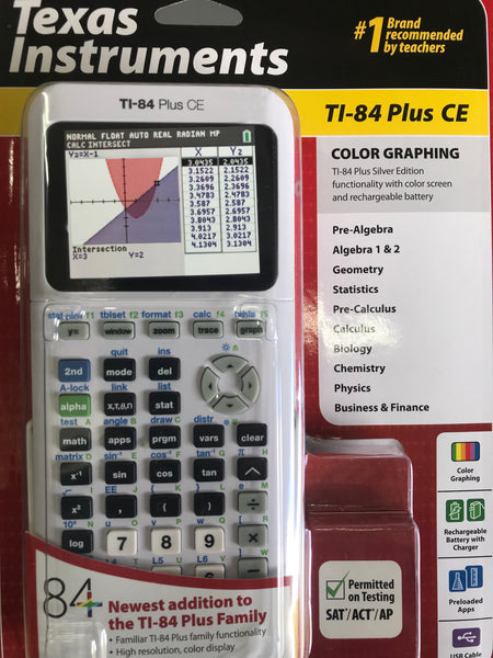 Calculadora Texas Instruments TI 84 Plus CE Blanco - AlmacenEducativo.com