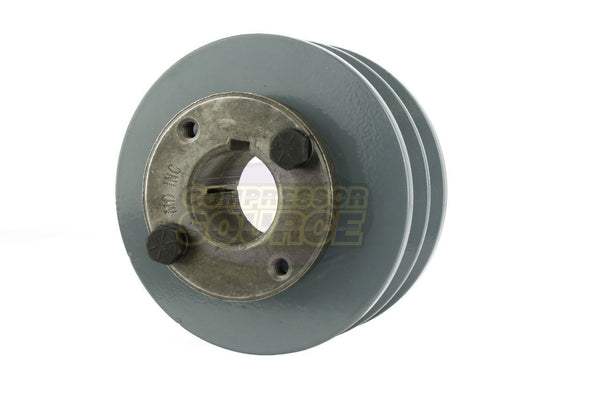 "4"" Cast Iron Dual Groove Pulley B Belt (5L) Style with 1-1/8"" Bore H Bushing"
