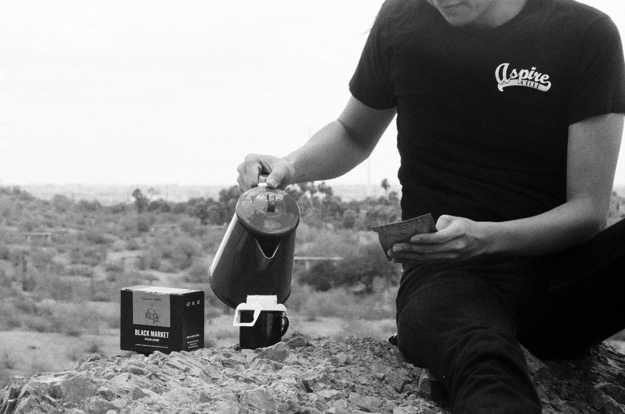 Brewing Black Market Pour Over Kit at Papago Park.