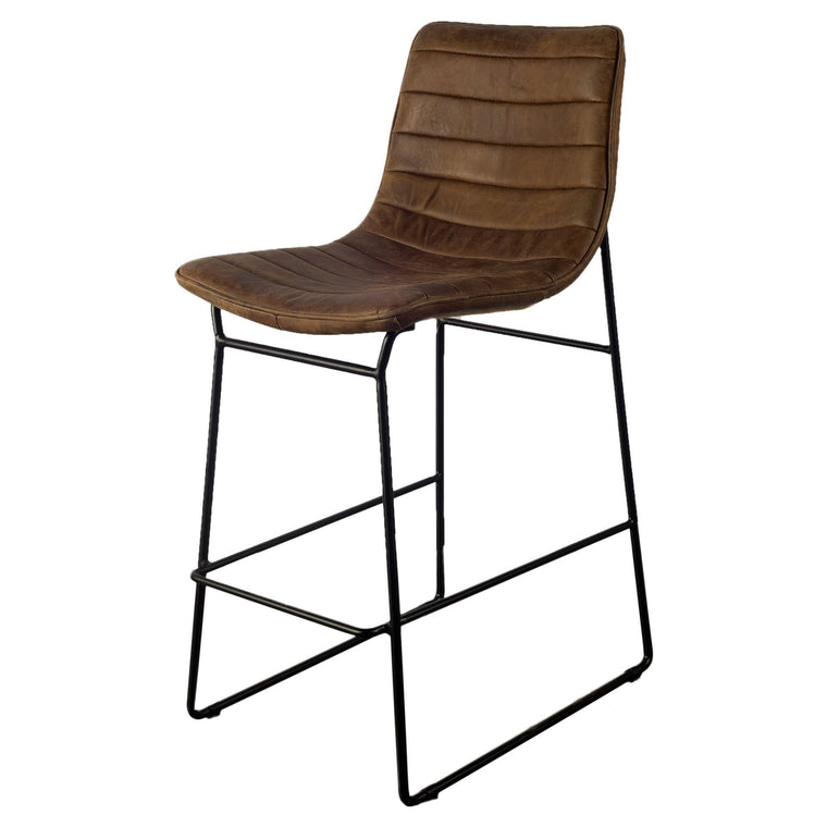 Parley Rustic barstool Brown leather
