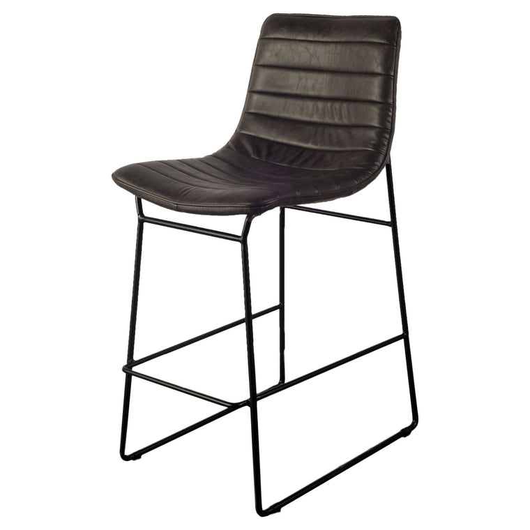 Parley Bar stool Ebony Black leather Rustic Legs