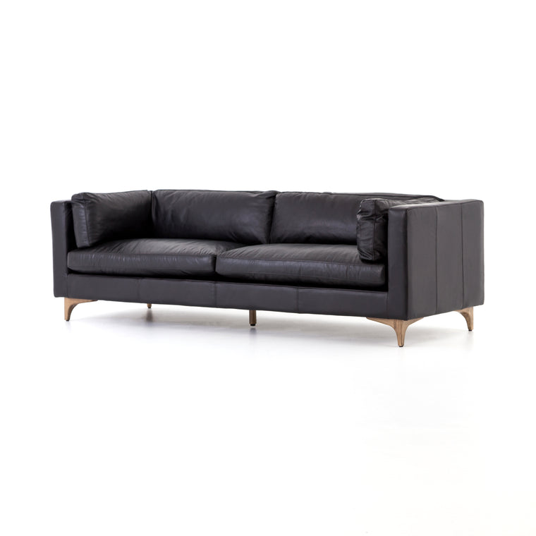 BECKFORT SOFA, RIDER BLACK, WEATHERED OAK
