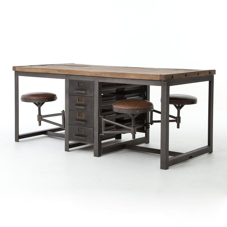BRYSON INDUSTRIAL WORK TABLE-RUSTIC BLACK