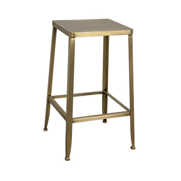 Lavan Industrial Counter Stool, Metal w/Brass Finish