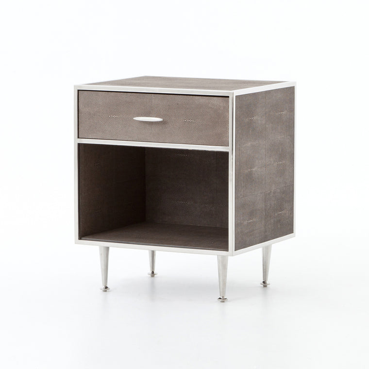 FARRUCO SHAGREEN BEDSIDE TABLE STAINLESS