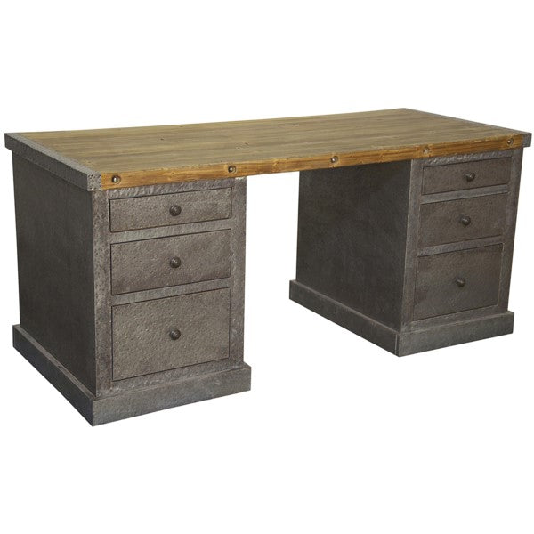 Clayton Hammered Zinc Desk, Old Wood