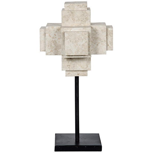 Secora  Cube On Stand, White Marble