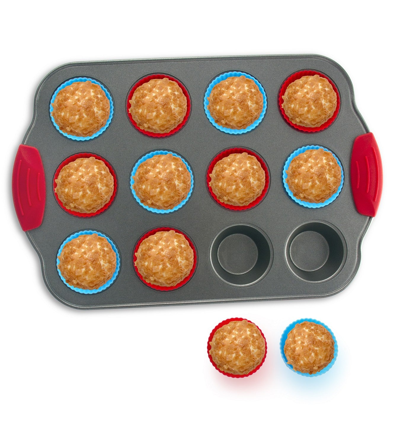 12-Cup Mini Muffin Pan + Silicone Muffin Cup Liners