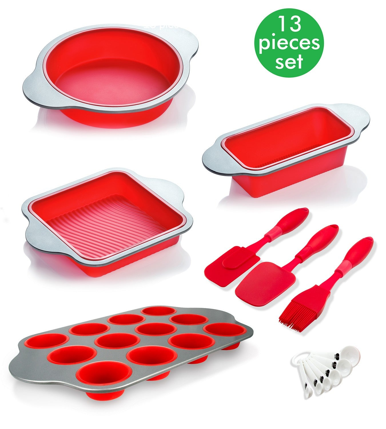 13 Set Premium Silicone Baking Pans & Utensils