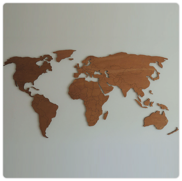 3D Wooden World Map with Engraved Land Borders - ModiDen