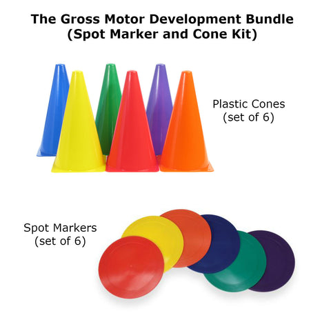 Gross Motor Development Bundle (Spot Markers and Cone Kit) Special Needs Essentials specialneedsessentials