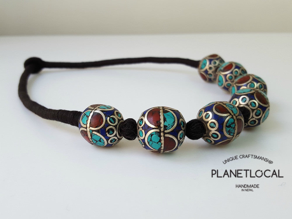 EARTH BEADS- Hand wrapped pure cotton thread necklace - PLANETLOCAL