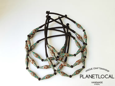 TRIBAL BEADS- Hand wrapped pure cotton thread necklace - PLANETLOCAL