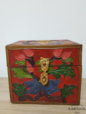 BOXEN3-Unique Handpainted Tibetan Art Wooden Box - PLANETLOCAL