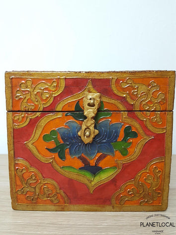 BOXEN6-Unique Handpainted Tibetan Art Wooden Box - PLANETLOCAL