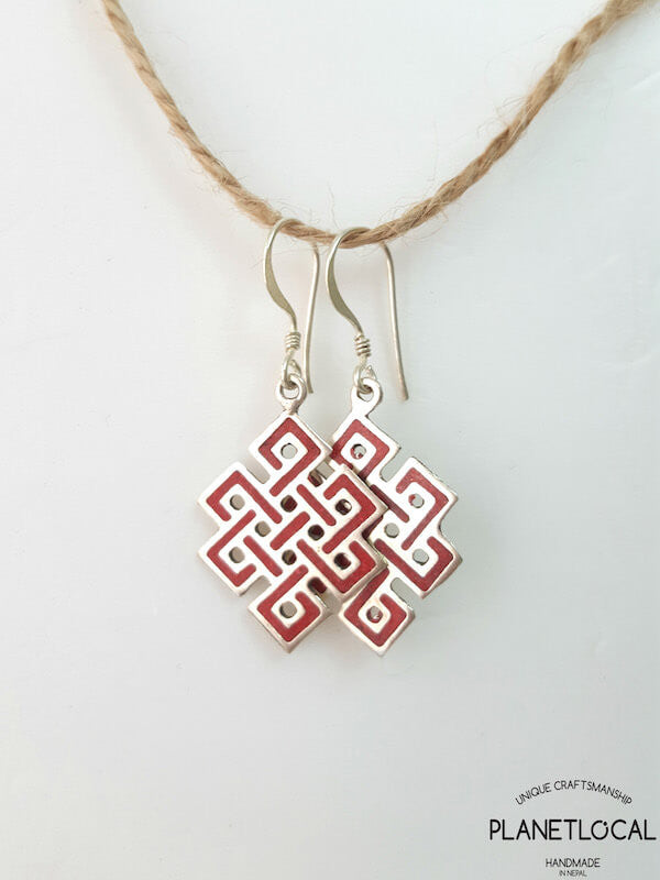 Handmade Assorted Endless Knot White Metal Earrings