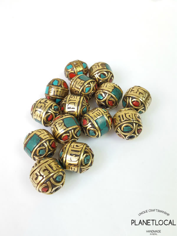 3pc Assorted Tibetan Brass Beads DIY Craft Supplies No.1 (7)