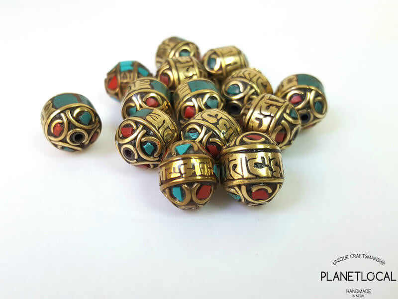 3pc Assorted Tibetan Brass Beads DIY Craft Supplies No.1 (8)
