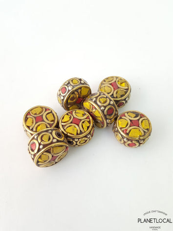 DRUM- 5pc Assorted Tibetan Brass Beads DIY Craft Supplies No.11